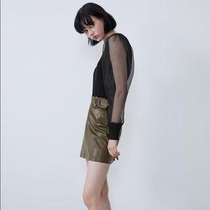 NWT ZARA Faux leather mini skirt